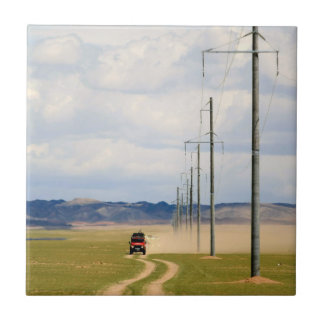 4X4 Vehicles On Dirt Road, Gobi Desert Small Square Tile