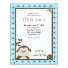 4x5 Blue Bambino Monkey Baby Shower Invitation