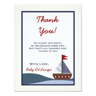 4x5 FLAT Thank you Card Ahoy Mate Sailboat Whale 11 Cm X 14 Cm Invitation Card