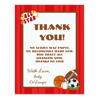 4x5 FLAT Thank you Card All-Star Red Invitation