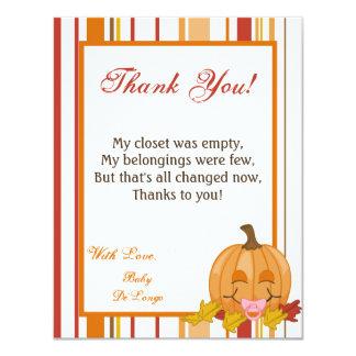 4x5 FLAT Thank You Card Autumn Fall Pumpkin Baby 11 Cm X 14 Cm Invitation Card