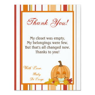 4x5 FLAT Thank You Card Autumn Fall Pumpkin Baby 11 Cm X 14 Cm Invitation Card