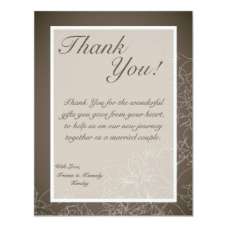 4x5 FLAT Thank You Card Autumn Floral Fall Gray Custom Invitations