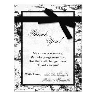 4x5 FLAT Thank you Card Black Toile Fabric Print Invites