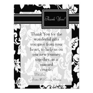 4x5 FLAT Thank You Card Black White Filigree