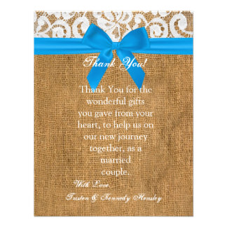 4x5 FLAT Thank You Card Blue Burlap Lace
