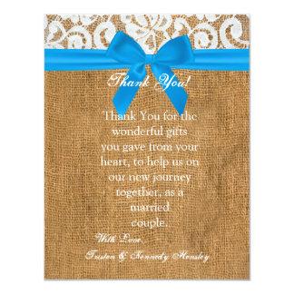 4x5 FLAT Thank You Card Blue Burlap Lace Personalized Announcement