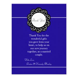 4x5 FLAT Thank You Card Blue White