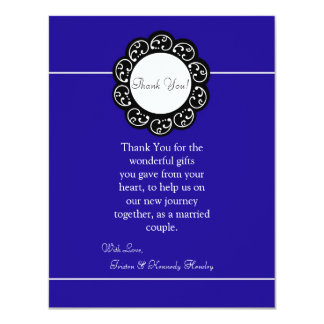 4x5 FLAT Thank You Card Blue & White Personalized Announcement