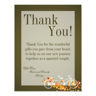 4x5 FLAT Thank You Card Brown Double Bike 11 Cm X 14 Cm Invitation Card
