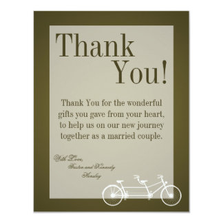 4x5 FLAT Thank You Card Brown Double Bike Announcement