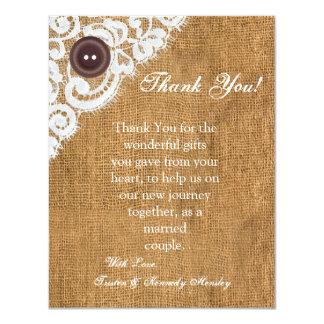 4x5 FLAT Thank You Card Button Burlap Lace Custom Invites