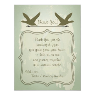 4x5 FLAT Thank You Card Country Duck Hunting 11 Cm X 14 Cm Invitation Card