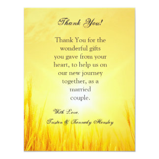 4x5 FLAT Thank You Card Country Hay Sunset Personalized Invitation