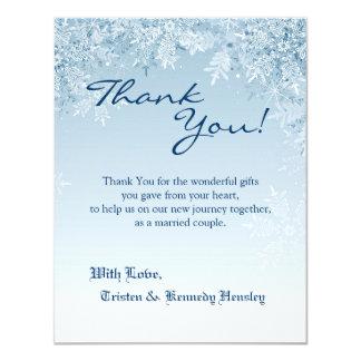 4x5 FLAT Thank You Card Crystal Snowflakes Winter 11 Cm X 14 Cm Invitation Card