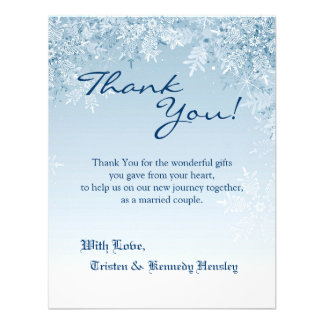 4x5 FLAT Thank You Card Crystal Snowflakes Winter