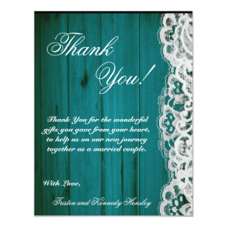 4x5 FLAT Thank You Card Distrissed Teal Wood Lace 11 Cm X 14 Cm Invitation Card