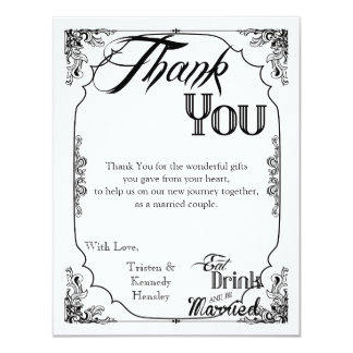 4x5 FLAT Thank You Card Eat Drink Be Married White 11 Cm X 14 Cm Invitation Card