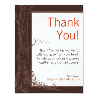 4x5 FLAT Thank You Card Fall Tree Initial Carvings 11 Cm X 14 Cm Invitation Card