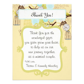 4x5 FLAT Thank You Card Floral Bird Cage