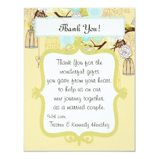 4x5 FLAT Thank You Card Floral Bird Cage Personalized Invitations
