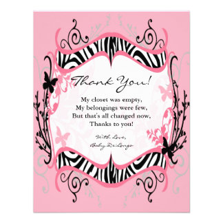 4x5 FLAT Thank you Card Girl Butterfly Zebra Print Personalized Invitation