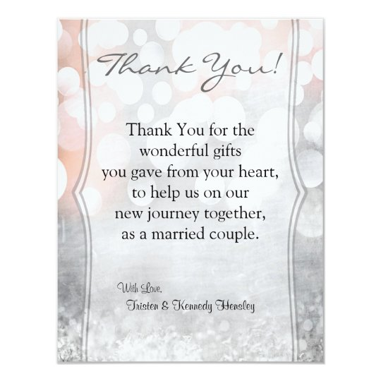 4x5 FLAT Thank You Card Glitz Pink Sparkles