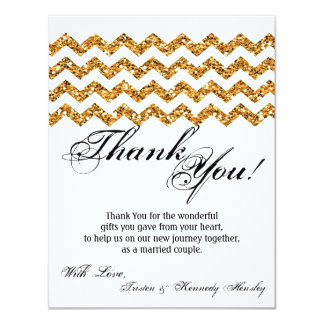 4x5 FLAT Thank You Card Gold Glitter Chevron Strip 11 Cm X 14 Cm Invitation Card