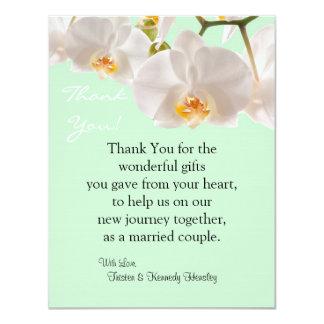 4x5 FLAT Thank You Card Green & Orchid Custom Invitations
