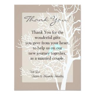 4x5 FLAT Thank You Card Grey Tree & Birds 11 Cm X 14 Cm Invitation Card