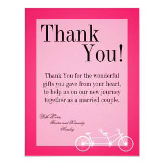 4x5 FLAT Thank You Card Hot Pink Black Double Bike 11 Cm X 14 Cm Invitation Card