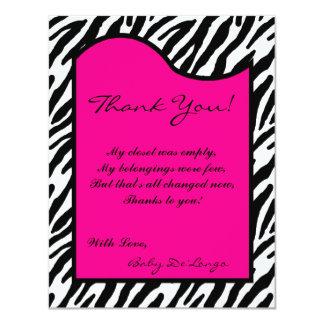 4x5 FLAT Thank you Card Hot Pink Zebra Print 11 Cm X 14 Cm Invitation Card