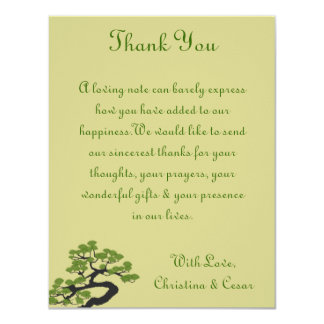 4x5 FLAT Thank You Card Japanese Green Bonsai Tree Personalized Invite