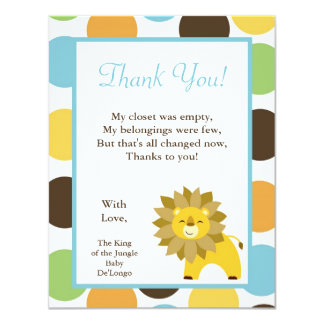 4x5 FLAT Thank you Card Jungle King Lion Safari Zo 11 Cm X 14 Cm Invitation Card