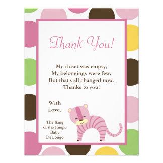 4x5 FLAT Thank you Card Jungle Queen Tiger Safari Personalized Invite