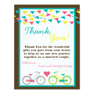 4x5 FLAT Thank You Card Lovers Bike Bicycle Carniv 11 Cm X 14 Cm Invitation Card