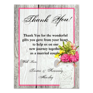 4x5 FLAT Thank You Card Mason Jar with Wildflowers