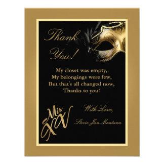 4x5 FLAT Thank you Card Mis XV Gold Custom Invitation
