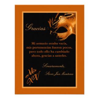 4x5 FLAT Thank you Card Mis XV Orange Personalized Invitation