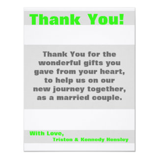 4x5 FLAT Thank You Card Modern Neon Stripe Green 11 Cm X 14 Cm Invitation Card