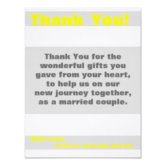 4x5 FLAT Thank You Card Modern Neon Stripe Yellow 11 Cm X 14 Cm Invitation Card