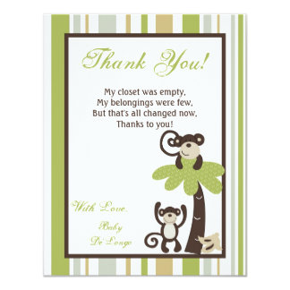 4x5 FLAT Thank You Card Monkey Time Zoo Animal Invitation
