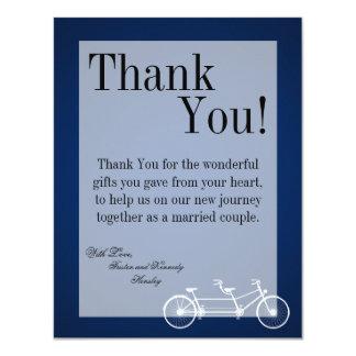 4x5 FLAT Thank You Card Navy Blue Double Bike 11 Cm X 14 Cm Invitation Card