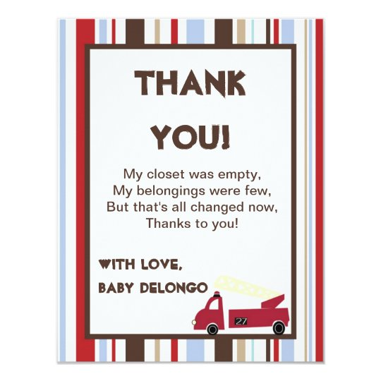 4x5 FLAT Thank You Card Nojo Fire Engine