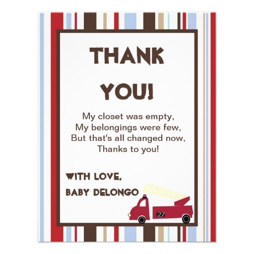 4x5 FLAT Thank You Card Nojo Fire Engine Personalised Announcement
