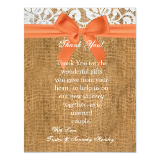 4x5 FLAT Thank You Card Orange Burlap Lace Custom Announcement