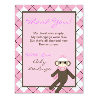 4x5 FLAT Thank you Card Pink Argyle Sock Monkey 11 Cm X 14 Cm Invitation Card