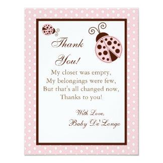 4x5 FLAT Thank you Card Pink Ladybug 11 Cm X 14 Cm Invitation Card
