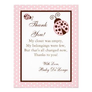 4x5 FLAT Thank you Card Pink Ladybug Invites