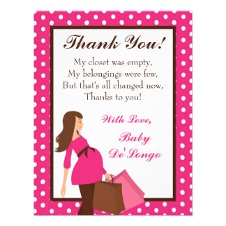 4x5 FLAT Thank you Card Pink Mod Mom Polka Dots Announcement